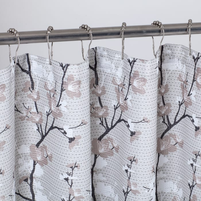 Floral Printed Waffle Shower Curtain