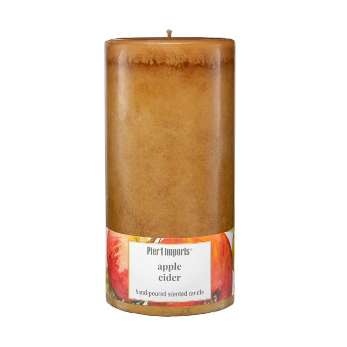 Pier 1 Apple Cider 3x6 Mottled Pillar Candle