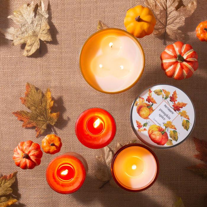 Pier 1 Pumpkin Spice 3x6 Mottled Pillar Candle