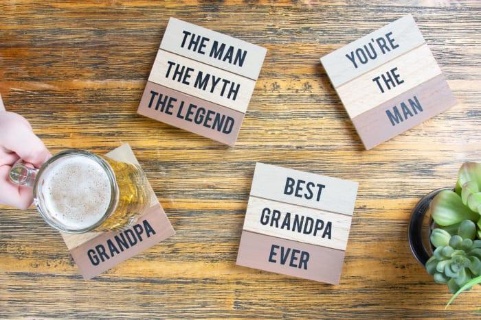 Best Grandpa Coasters Set of 4