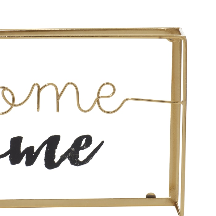 Gold Metal Contemporary Set of 2 Decorative Signs