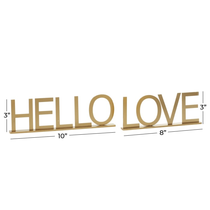 Gold Metal Traditional Set of 2 Decorative Signs
