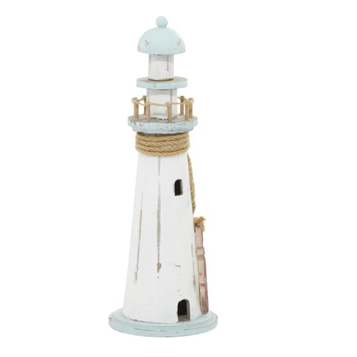 Coastal White Wooden Lighthouse Sculpture