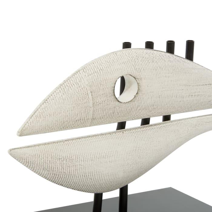 White Metal Coastal Fish Sculpture