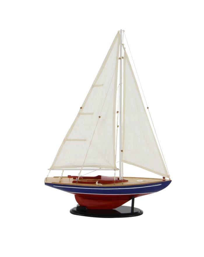 Dark Brown Wood Coastal Sail Boat Sculpture