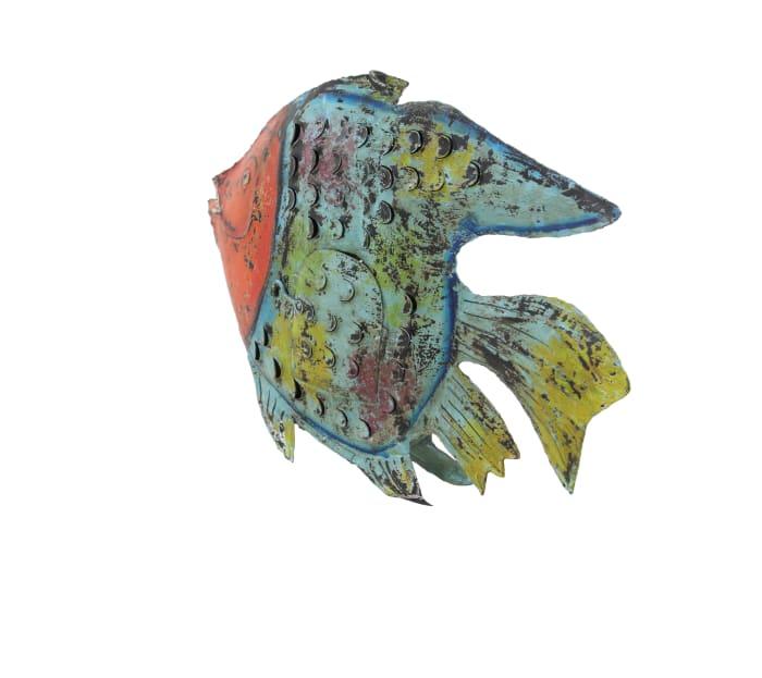 Blue Metal Vintage Fish Sculpture