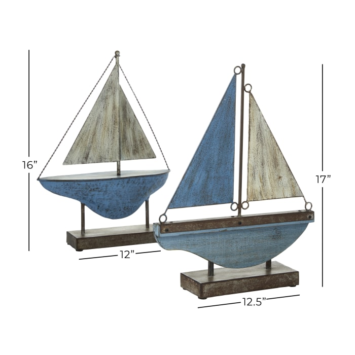 Metal Coastal Sail Boat Set of 2 Sculptures