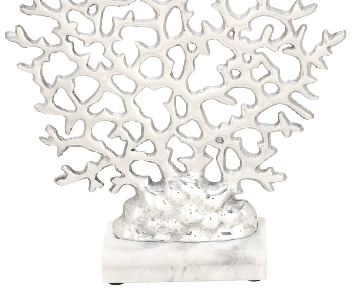 Coastal Silver Aluminum and Marble Coral Sculpture