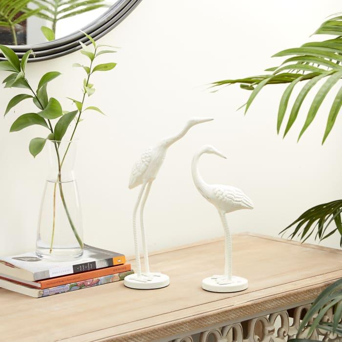 White Metal Coastal Bird Set of 2 Sculptures