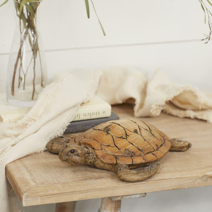 Coastal Brown Polystone Sea Turtle Sculpture