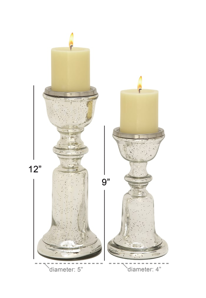 Traditional Silver Glass Set of 2 Candle Holders