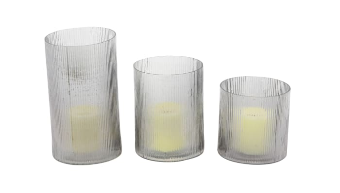 Traditional Clear Glass Set of 3  Candle Holders