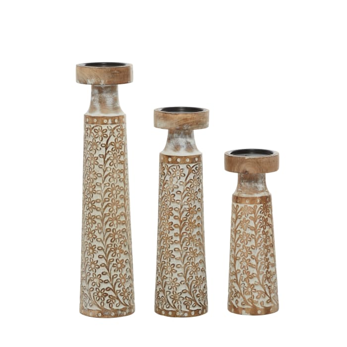 Brown Mango Wood Natural Set of 3 Candle Holders