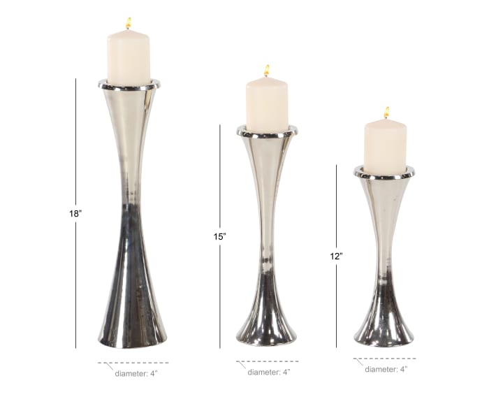 Modern Silver Aluminum Set of 3 Candle Holders