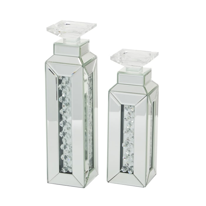 Glam  Silver Wood Set of 2 Candle Holders