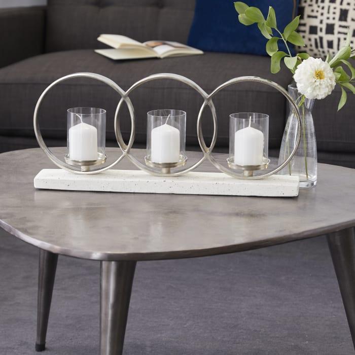 Contemporary White Terrazzo Candlestick Holders