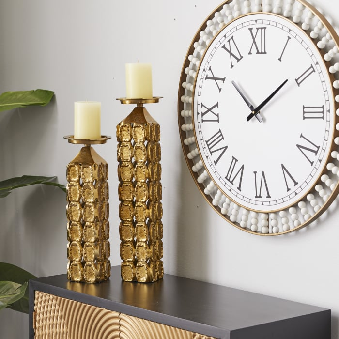 Contemporary Gold Aluminum Set of 2  Candle Holders