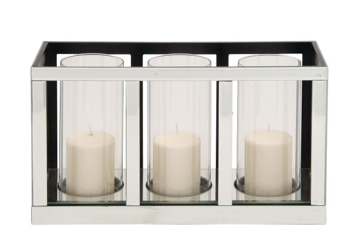 Glam Silver Mirror Candlestick Holders