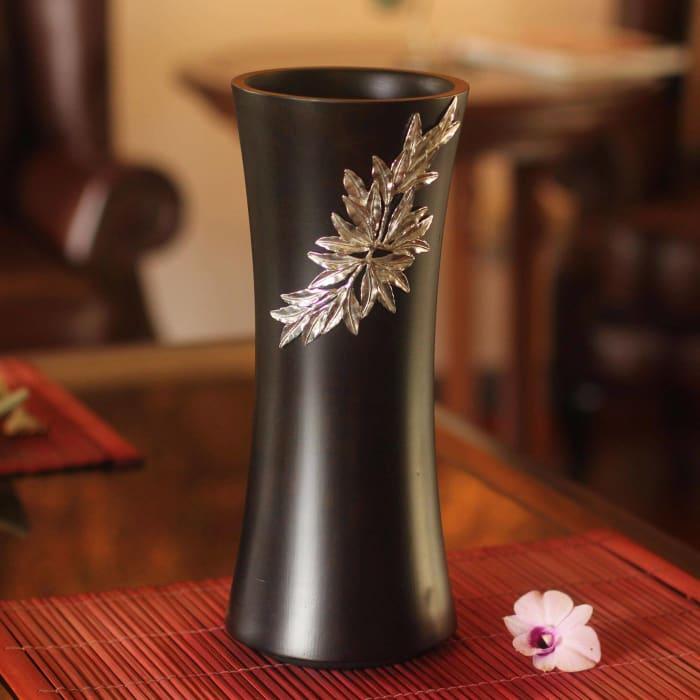 Novica Rainforest Bamboo Mango Wood And Pewter Vase