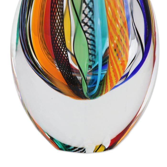 Novica Color Cascade  Art Glass Vase