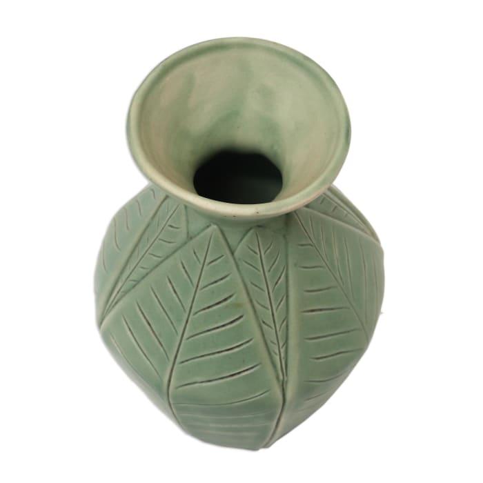 Novica Frangipani Leaves Ceramic Vase