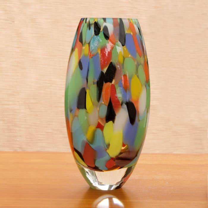 Novica Carnival Confetti  Handblown Art Glass Vase
