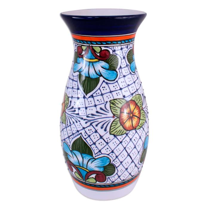 Novica Guanajuato Flora Ceramic Vase