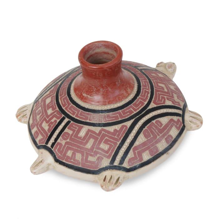 Novica Ancient Turtle Ceramic Decorative Vase