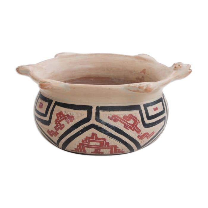 Novica Marajoara Turtle  Ceramic Decorative Vase