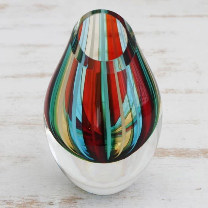 Novica Carnival Stripes  Art Glass Vase
