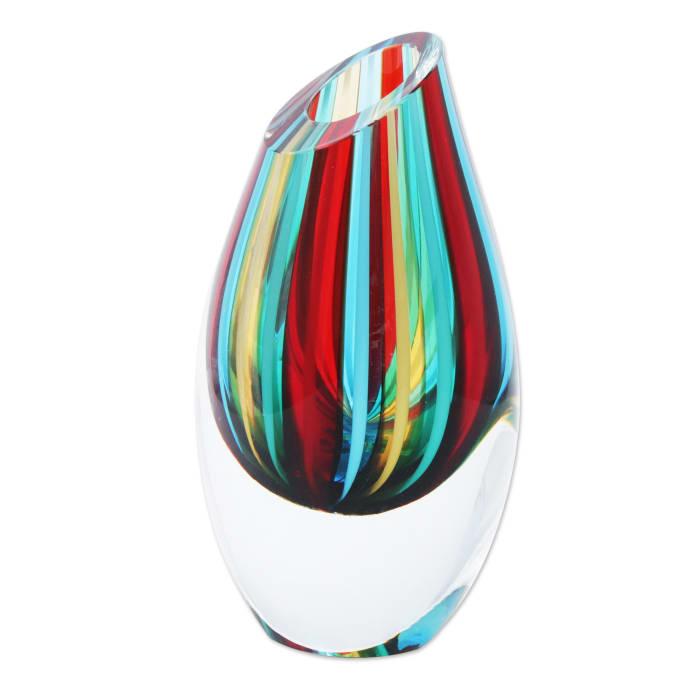 Novica Circus  Handblown Set Of 3 Art Glass Vases