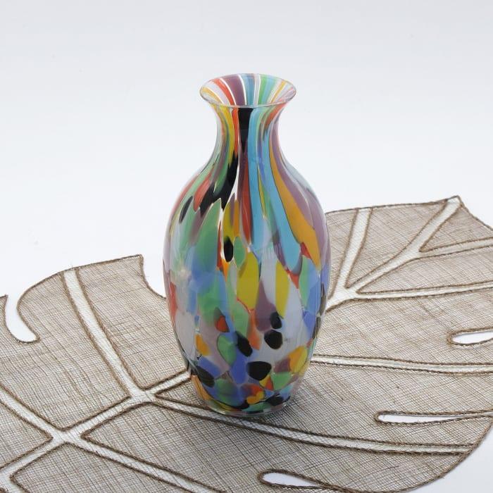 Novica Curvy Carnival Confetti Handblown Art Glass Vase