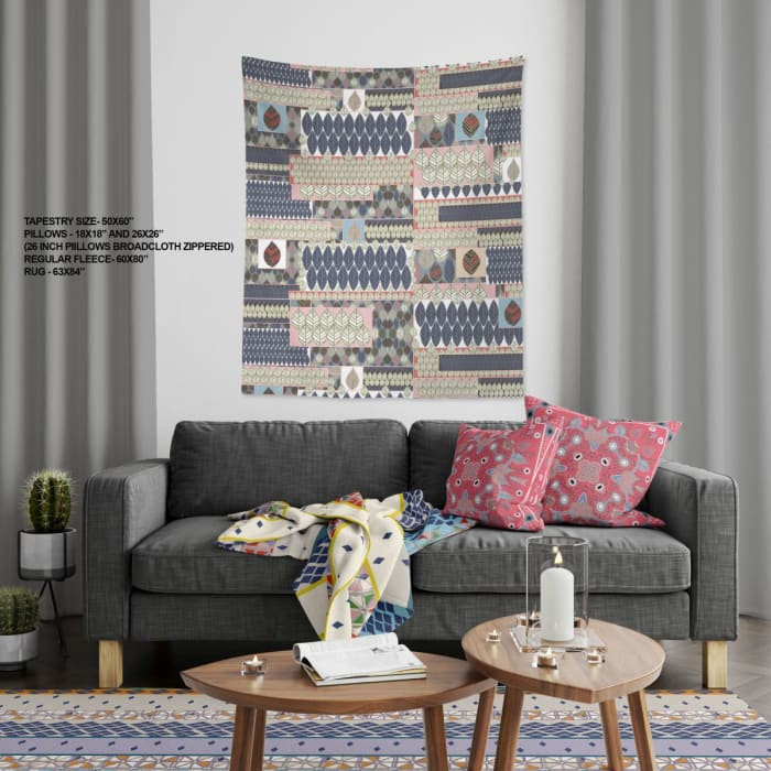 Treasure Floral Collection Falling Leaves Kantha Large Tapestry