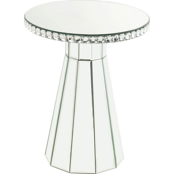 Silver Beveled Mirror Framing and Faux Crystals Accent Table