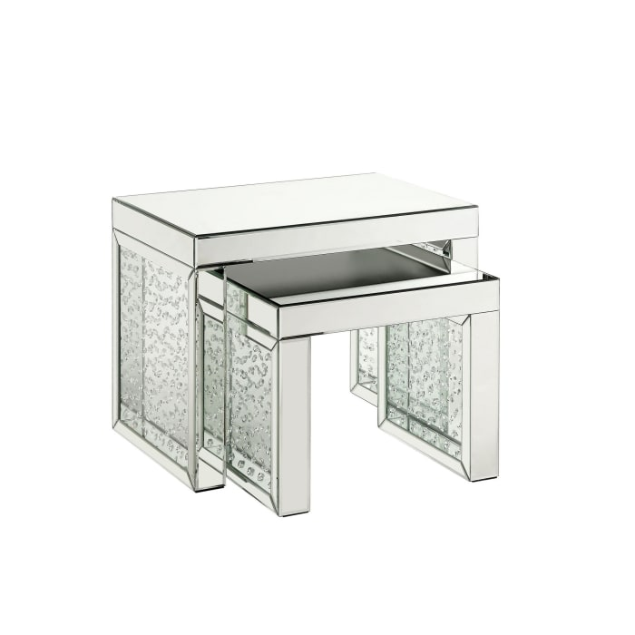 Mirrored Top and Faux Crystal Accent Small Silver Accent Table