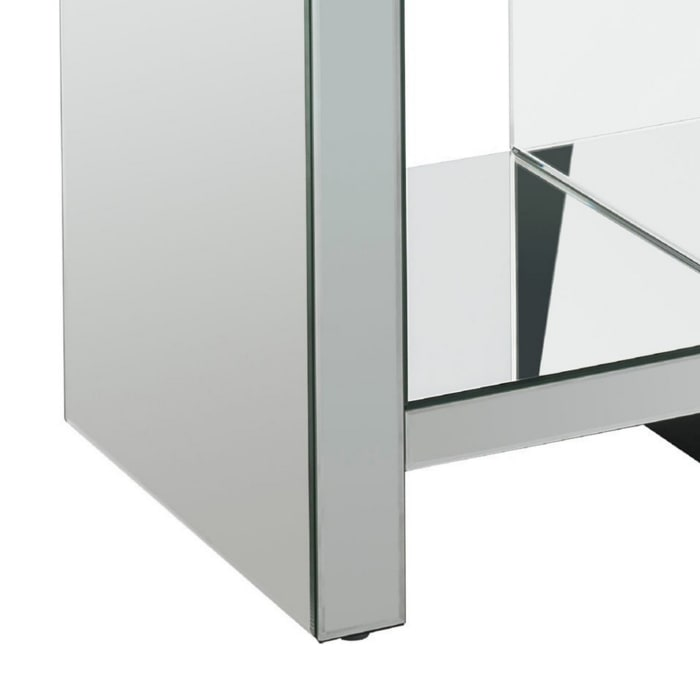 Faux Acrylic Diamond Inlay and 1 Lower Shelf Silver End Table