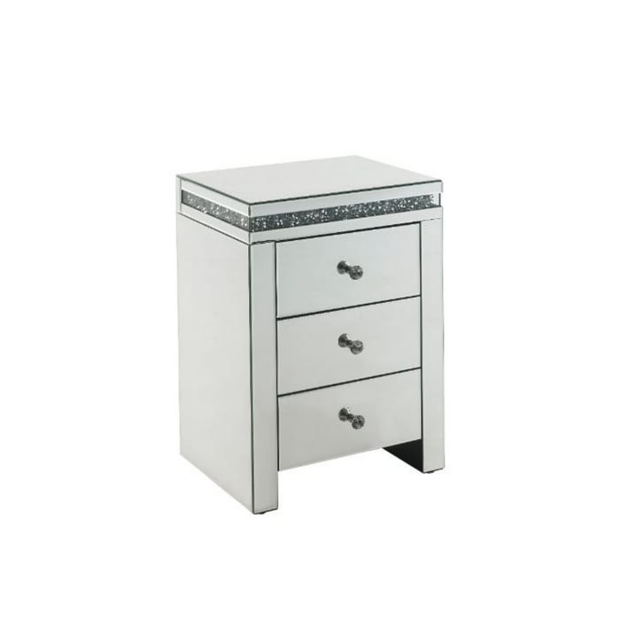 3 Modern Storage Drawers White Accent Table