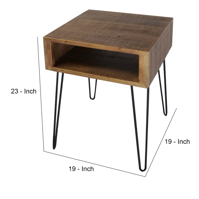 1 Compartment and Metal Hairpin Legs Brown End Table