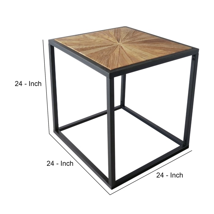 Rough Hewn and Metal Frame Base Rustic Brown End Table