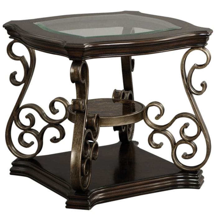 Glass Top and Scroll Accent Brown End Table