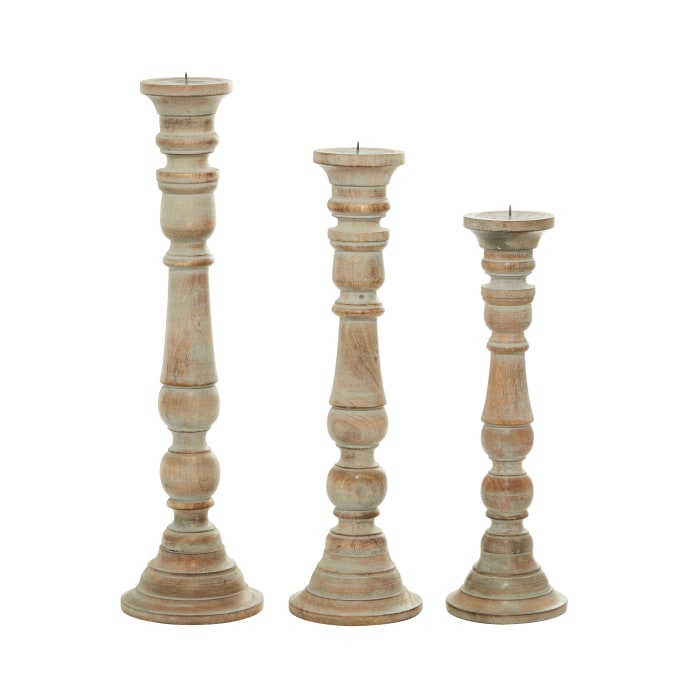Brown Mango Wood Set of 3 Candle Holders