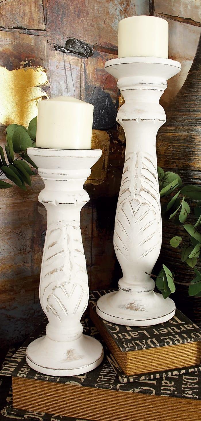 White Mango Wood Set of 3  Candle Holders
