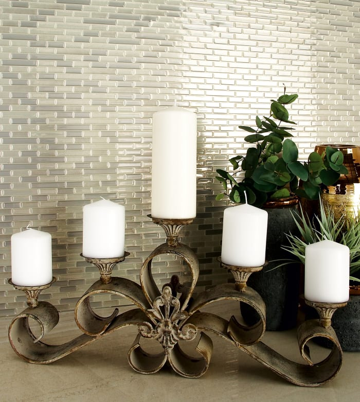 Rustic Grey Iron Candlestick Holders