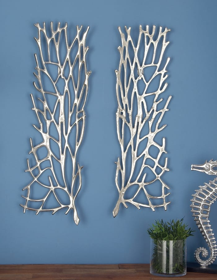 Modern Silver Aluminum Floral Set of 2 Wall Decors