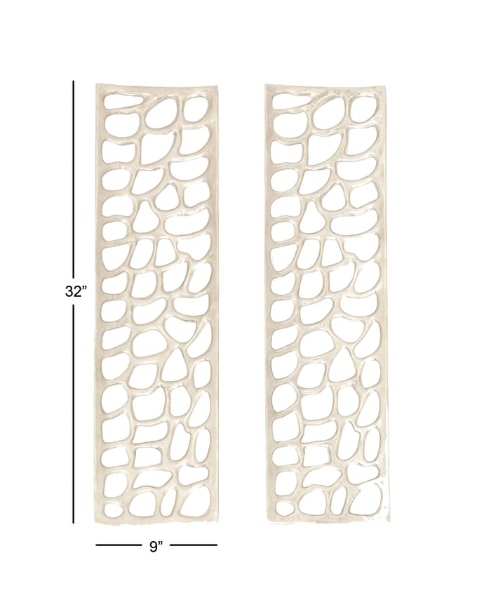 Abstract Silver Aluminum Set of 2 Wall Decors