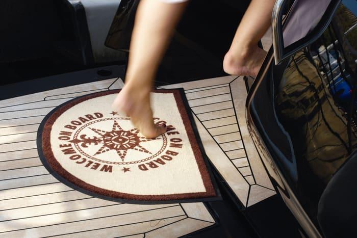Welcome On Board Non-Slip Door Mat - Brown