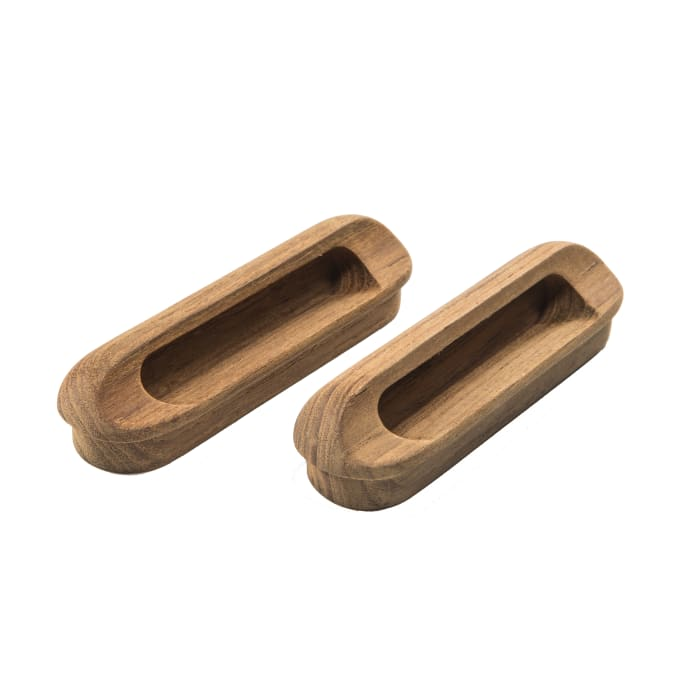 Teak  Oblong Set of 2 Drawer Pulls