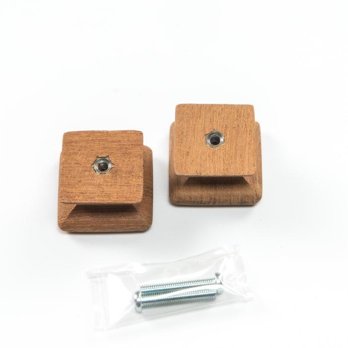 Teak  Square  Set of 2  Drawer Knobs