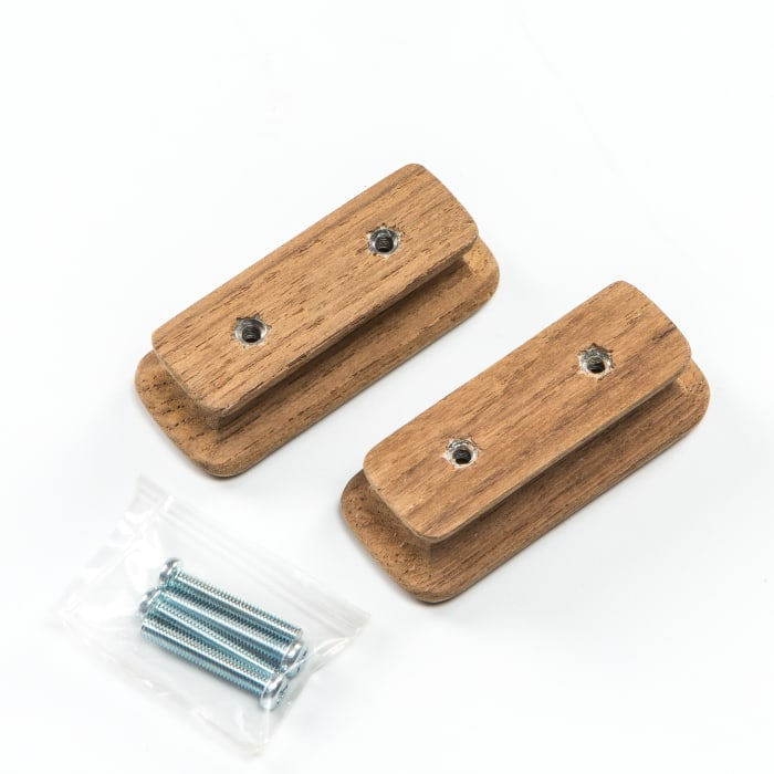 Teak Rectangular  Set of 2  Drawer Knobs