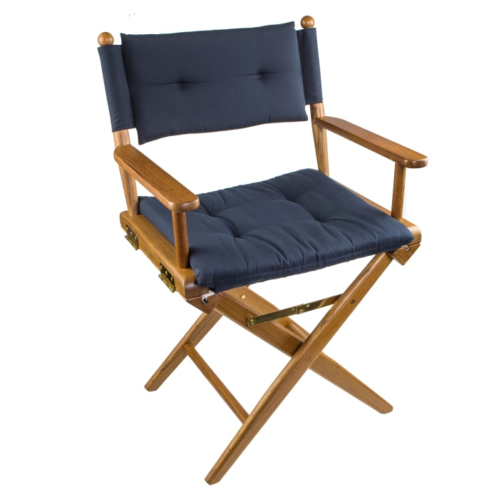 Teak Director's Chair with Navy Seat Cushions